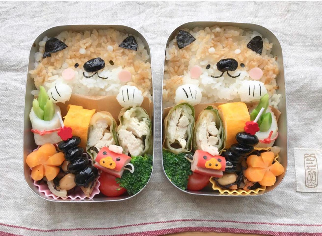 These First Bento Boxes Are Adorable Shiba Inu Designs What We Find So Fascinating Is How All The Food Manages To Look Healthy Delicious